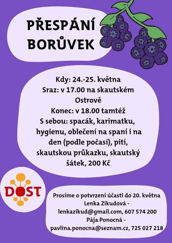 Informace o přespání Borůvek